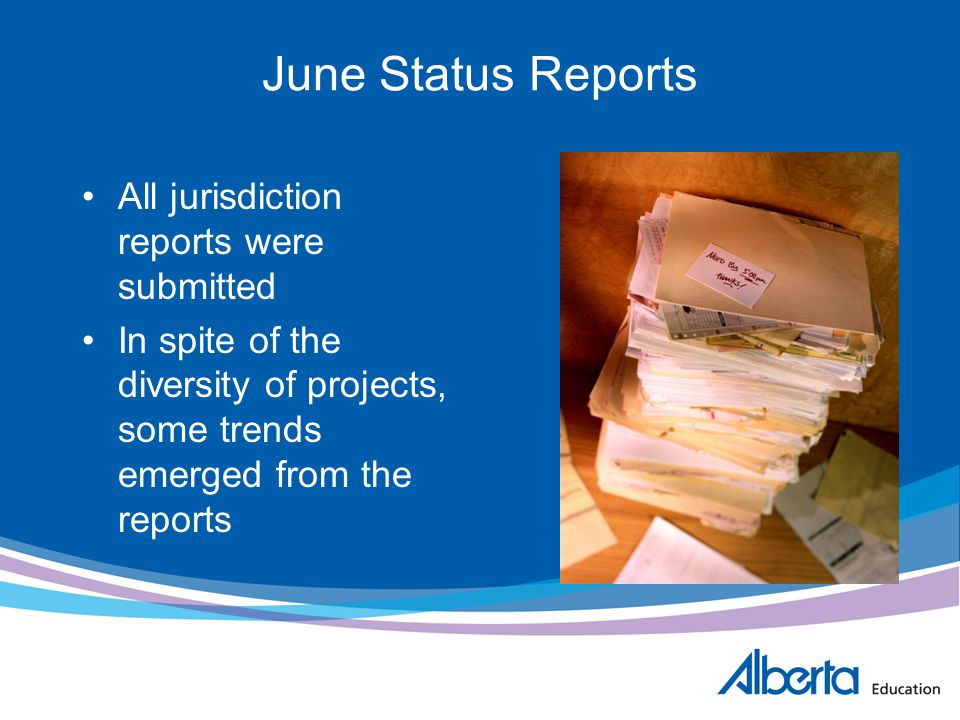 June Status Reports All jurisdiction reports were submitted In spite of the diversity of projects, some trends emerged from the reports