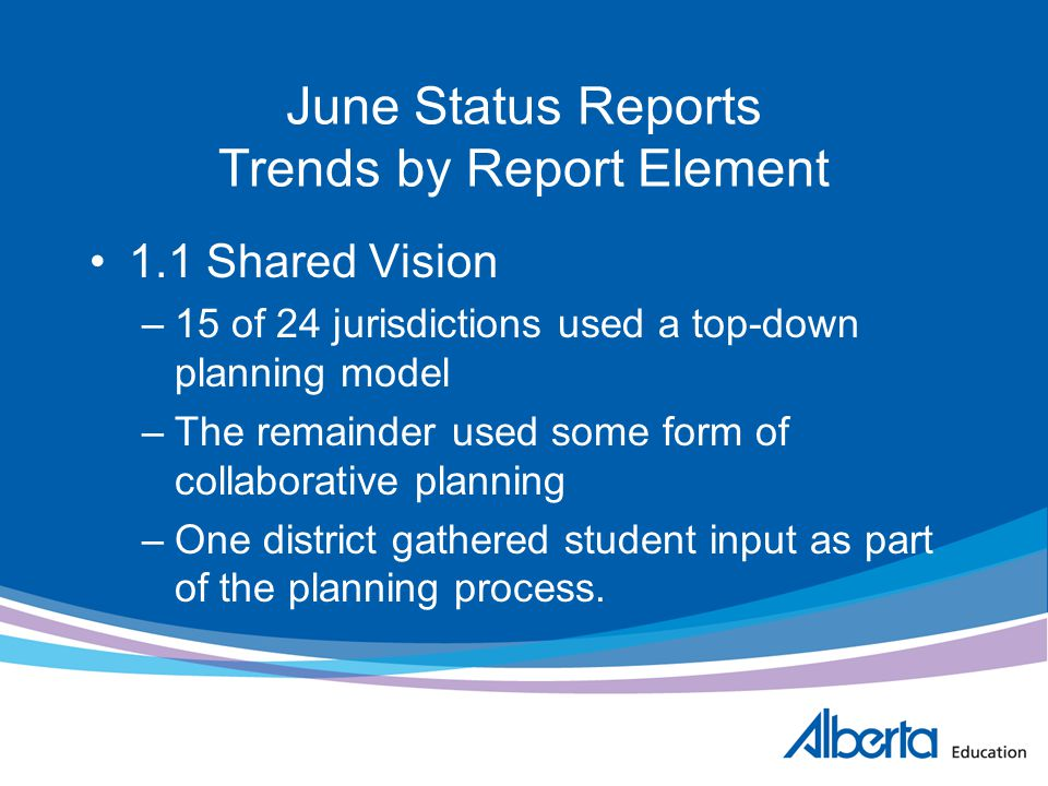 June Status Reports Trends by Report Element 1.1 Shared Vision –15 of 24 jurisdictions used a top-down planning model –The remainder used some form of