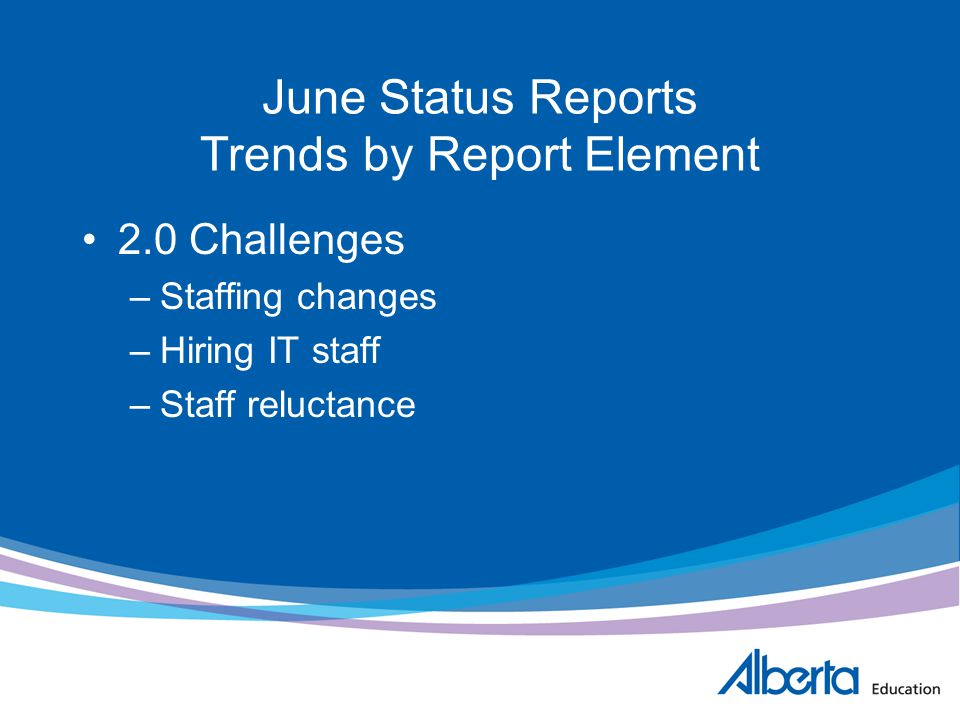 June Status Reports Trends by Report Element 2.0 Challenges –Staffing changes –Hiring IT staff –Staff reluctance