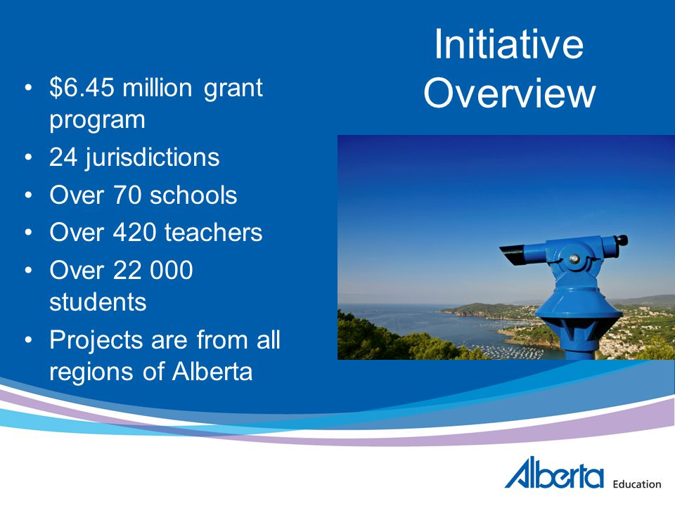 Initiative Overview $6.45 million grant program 24 jurisdictions Over 70 schools Over 420 teachers Over 22 000 students Projects are from all regions