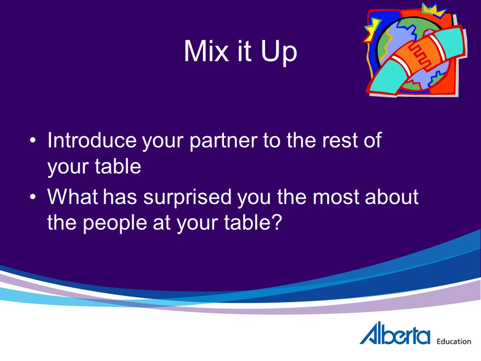 Mix it Up Introduce your partner to the rest of your table What has surprised you the most about the people at your table?