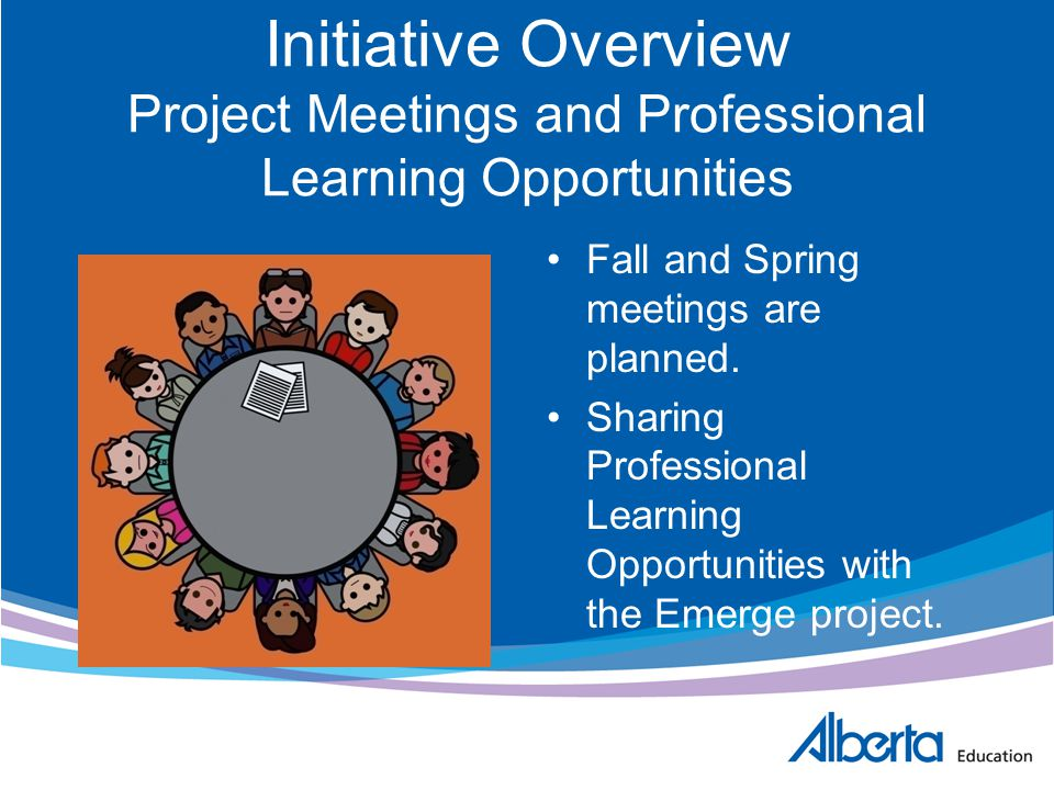 Initiative Overview Project Meetings and Professional Learning Opportunities Fall and Spring meetings are planned. Sharing Professional Learning Oppor