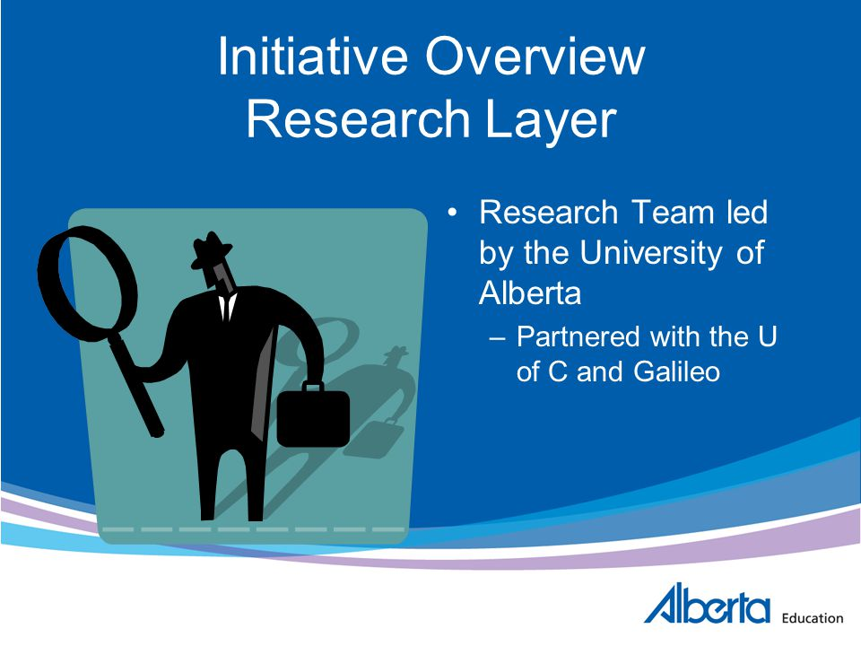Initiative Overview Research Layer Research Team led by the University of Alberta –Partnered with the U of C and Galileo