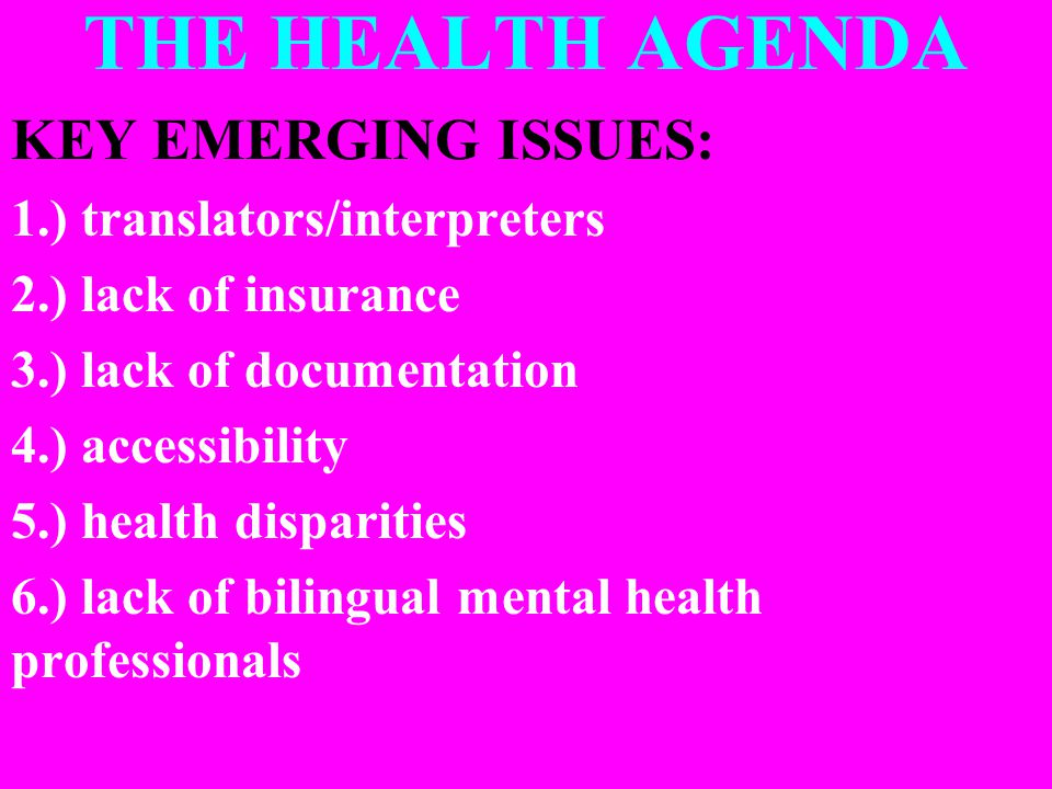 THE HEALTH AGENDA KEY EMERGING ISSUES: 1.) translators/interpreters 2.) lack of insurance 3.) lack of documentation 4.) accessibility 5.) health disparities 6.) lack of bilingual mental health professionals