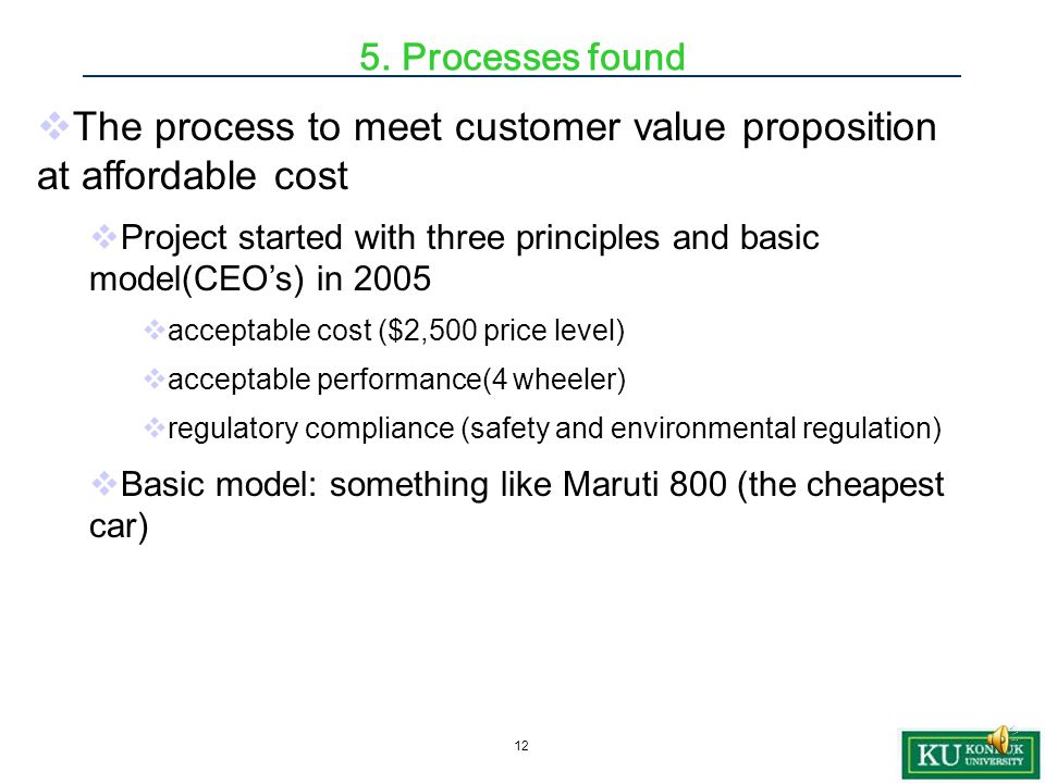 11  Value to customers of a product and the total cost of a product  1.