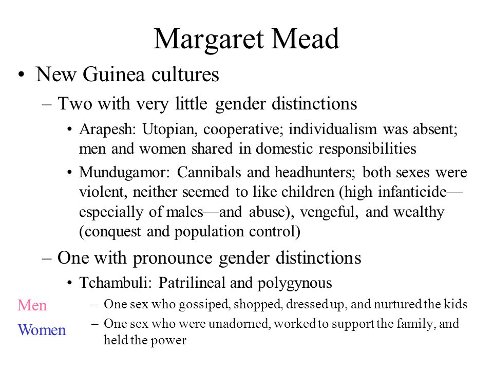 Margaret Mead New Guinea cultures –Two with very little gender distinctions Arapesh: Utopian, cooperative; individualism was absent; men and women shared in domestic responsibilities Mundugamor: Cannibals and headhunters; both sexes were violent, neither seemed to like children (high infanticide— especially of males—and abuse), vengeful, and wealthy (conquest and population control) –One with pronounce gender distinctions Tchambuli: Patrilineal and polygynous –One sex who gossiped, shopped, dressed up, and nurtured the kids –One sex who were unadorned, worked to support the family, and held the power Men Women