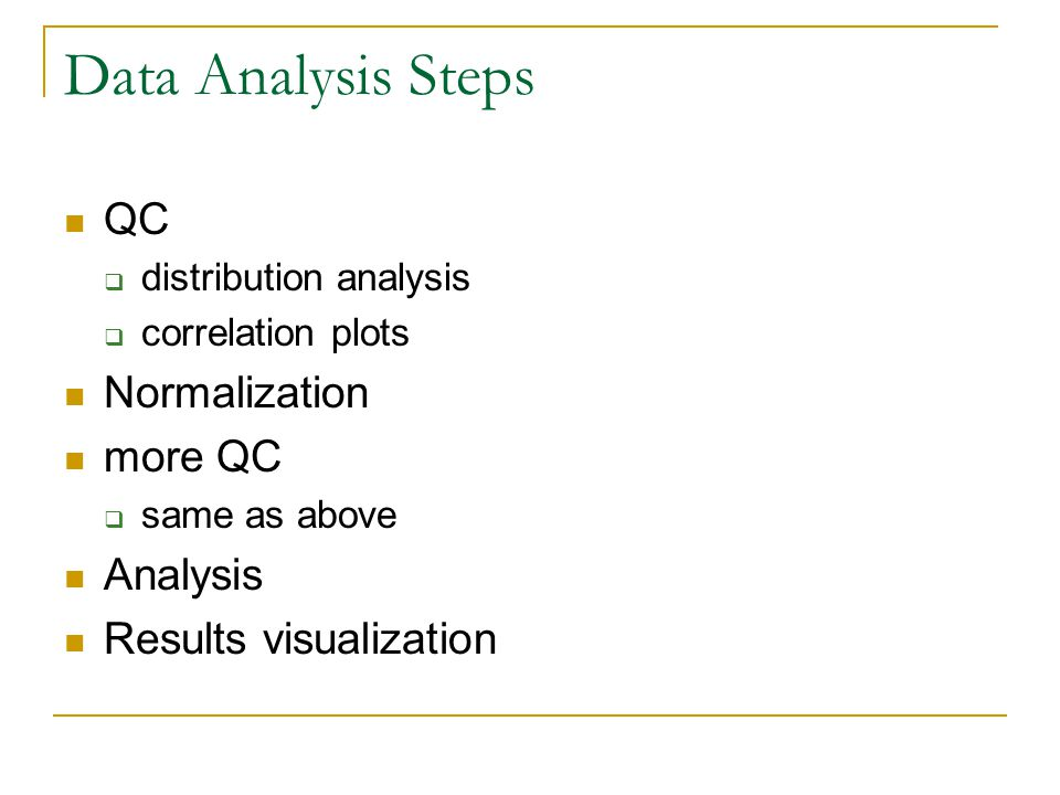 Data Analysis Steps QC  distribution analysis  correlation plots Normalization more QC  same as above Analysis Results visualization
