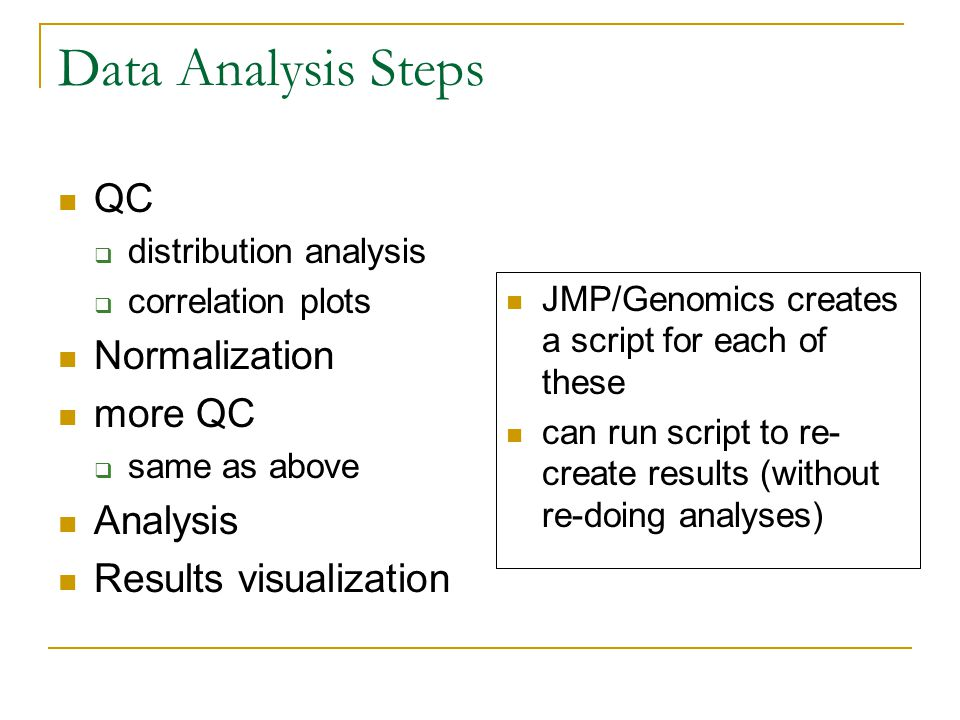 Data Analysis Steps QC  distribution analysis  correlation plots Normalization more QC  same as above Analysis Results visualization JMP/Genomics creates a script for each of these can run script to re- create results (without re-doing analyses)