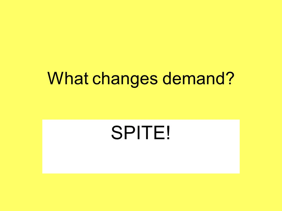 What changes demand? SPITE!