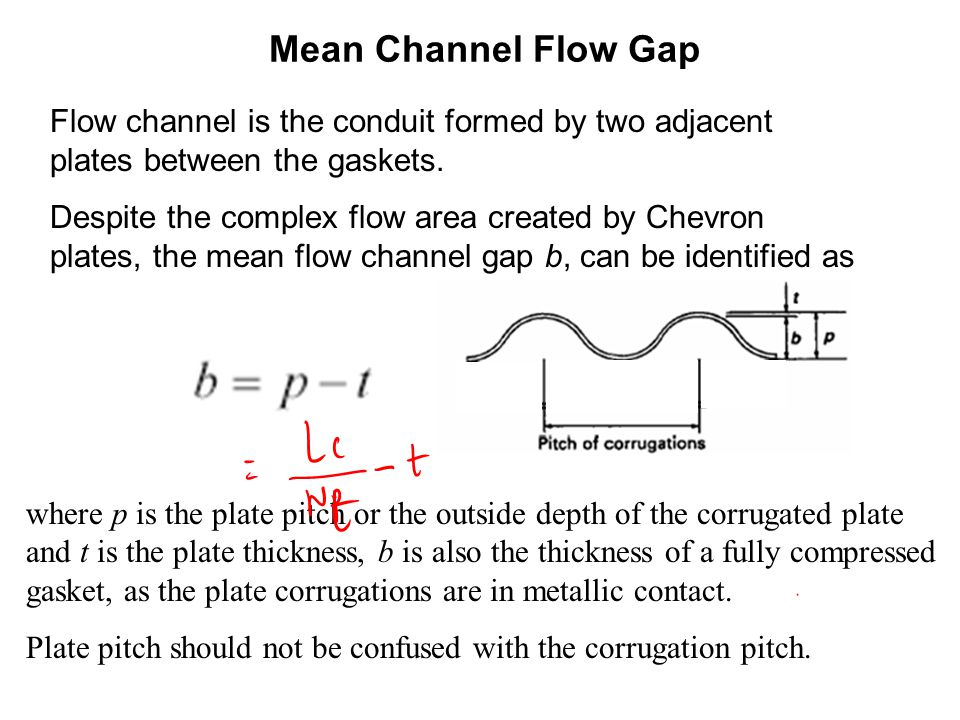 Mean Channel Flow Gap Flow channel is the conduit formed by two adjacent plates between the gaskets.