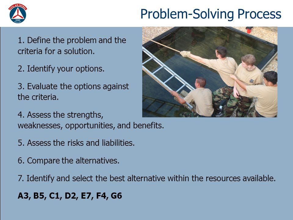 Problem-Solving Process 1. Define the problem and the criteria for a solution.