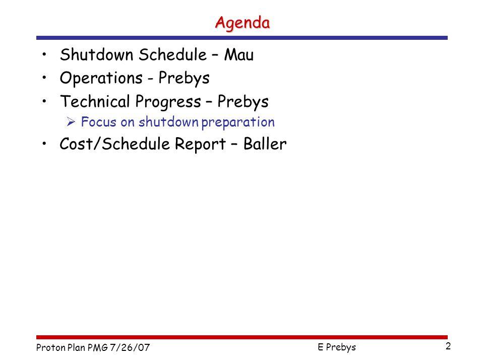 Proton Plan PMG 7/26/07 E Prebys 2 Shutdown Schedule – Mau Operations - Prebys Technical Progress – Prebys  Focus on shutdown preparation Cost/Schedule Report – Baller Agenda