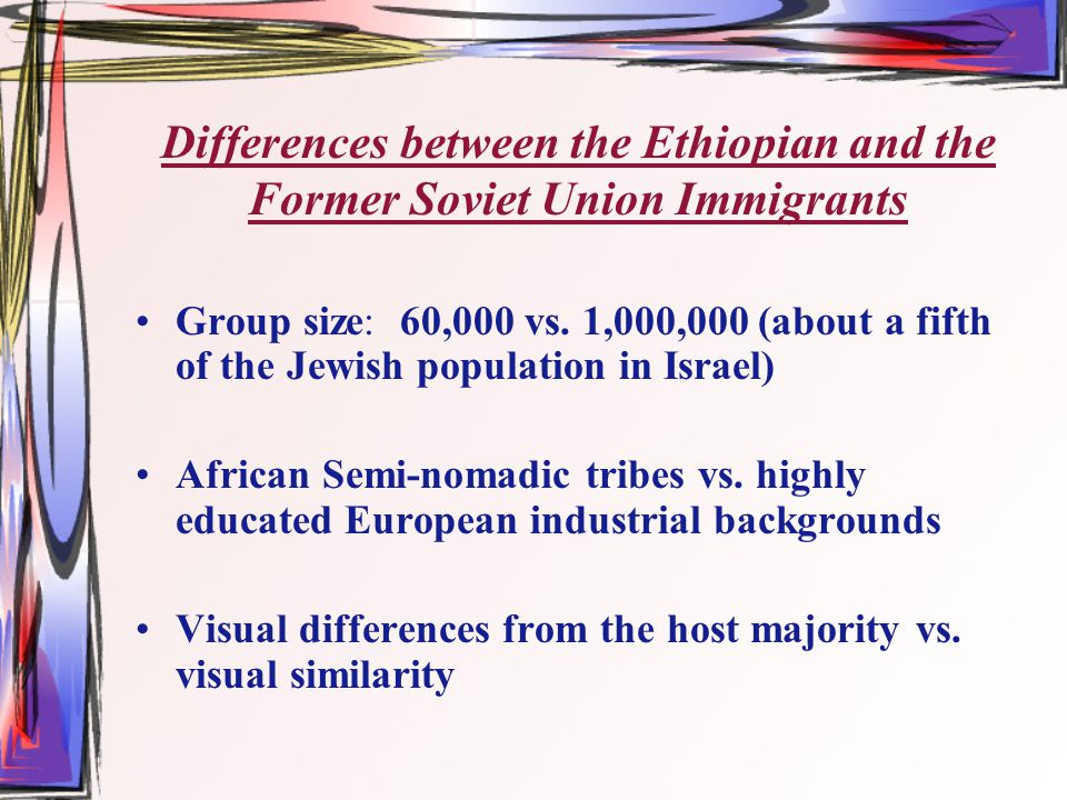 Differences between the Ethiopian and the Former Soviet Union Immigrants Group size: 60,000 vs.