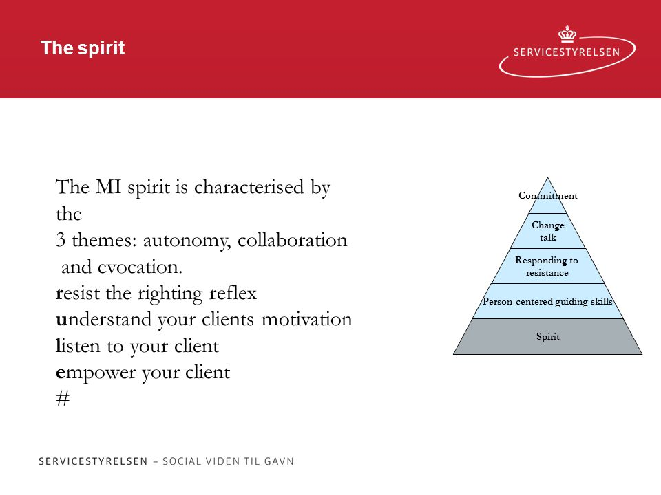 The spirit Commitment Change talk Responding to resistance Person-centered guiding skills Spirit The MI spirit is characterised by the 3 themes: autonomy, collaboration and evocation.