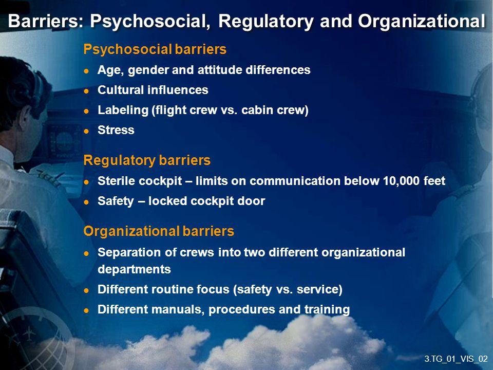 3.TG_01_VIS_02 Barriers: Psychosocial, Regulatory and Organizational Psychosocial barriers Age, gender and attitude differences Cultural influences La