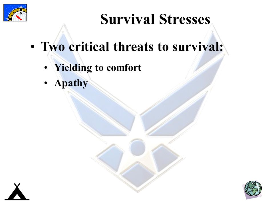 Survival Stresses Two critical threats to survival: Yielding to comfort Apathy