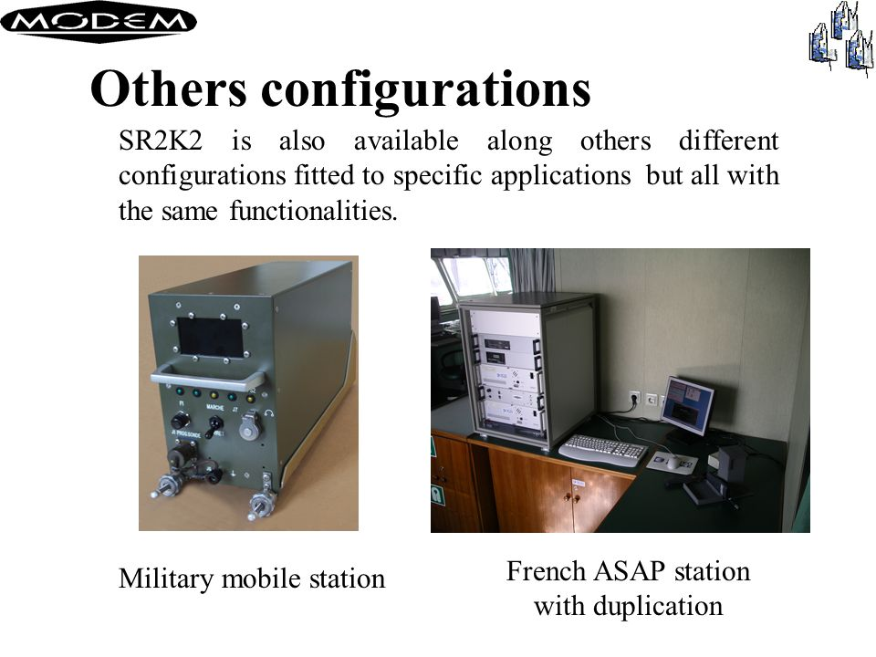 Portable version SR2K2-P portable system Beside the basic desktop station, Modem has developed a portable version.