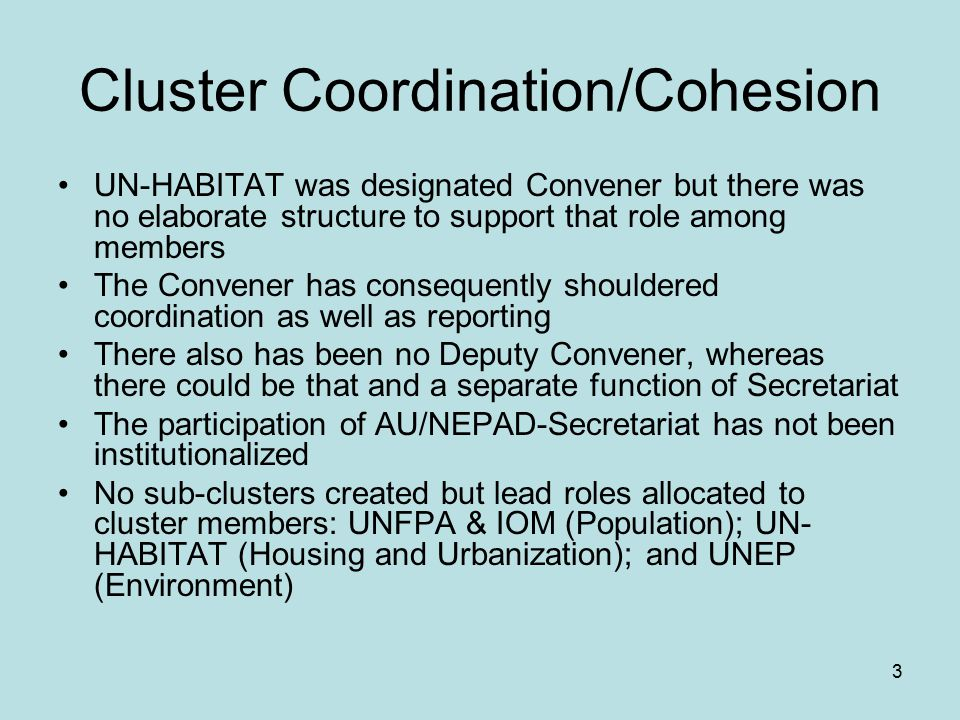 3 Cluster Coordination/Cohesion UN-HABITAT was designated Convener but there was no elaborate structure to support that role among members The Convener has consequently shouldered coordination as well as reporting There also has been no Deputy Convener, whereas there could be that and a separate function of Secretariat The participation of AU/NEPAD-Secretariat has not been institutionalized No sub-clusters created but lead roles allocated to cluster members: UNFPA & IOM (Population); UN- HABITAT (Housing and Urbanization); and UNEP (Environment)