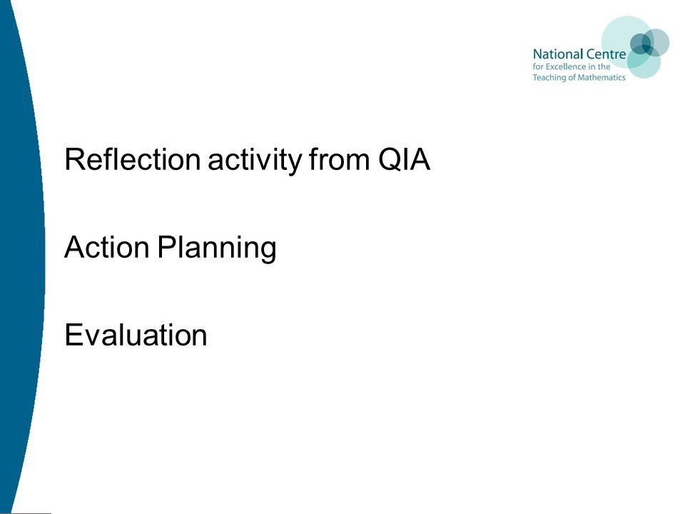 Reflection activity from QIA Action Planning Evaluation
