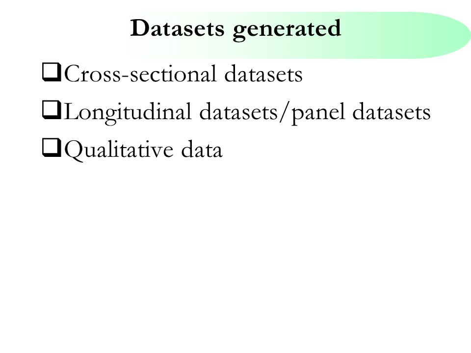 Datasets generated  Cross-sectional datasets  Longitudinal datasets/panel datasets  Qualitative data