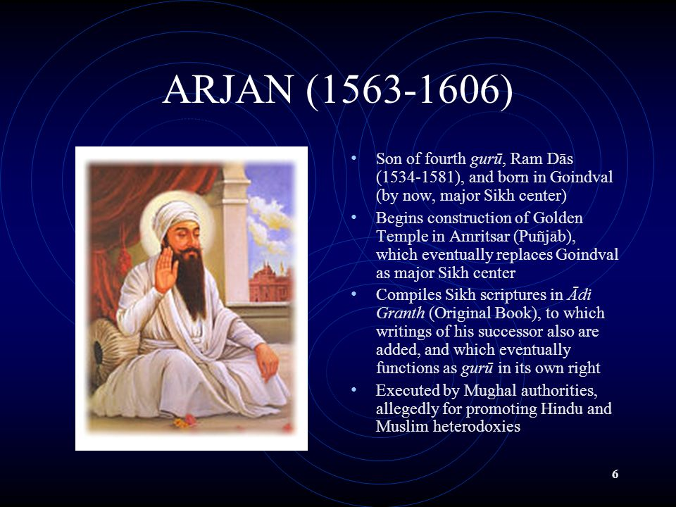 7 HARGOBIND (1595-1644) Son of fifth gurū, Arjan Leader of panth (Sikh community) at time when its growing size emerges as threat to Mughal rule in Puñjāb Responds to Mughal hostility by relocating panth from Puñjāb plains to Śivālik region (Himalayan foothills), center of Hindu Devi (Great Goddess) bhākti, in which śakti (energy) is cultivated by male devotees through devotion to female deity Emphasizes need for Sikhs to defend themselves militarily from Mughal aggression
