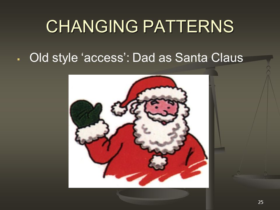25 CHANGING PATTERNS   Old style 'access': Dad as Santa Claus