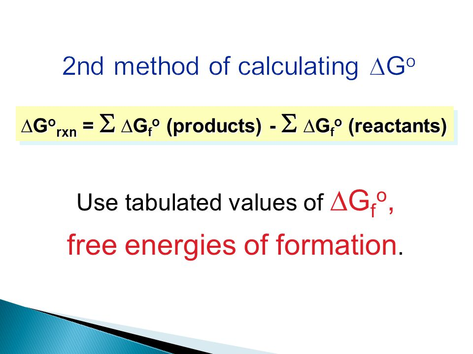 Use tabulated values of ∆G f o, free energies of formation.