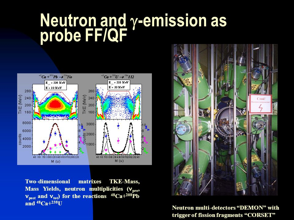 Neutron and  -emission as probe FF/QF Neutron multi-detectors DEMON with trigger of fission fragments CORSET Two-dimensional matrixes TKE-Mass, Mass Yields, neutron multiplicities ( pre, post and tot ) for the reactions 48 Ca+ 208 Pb and 48 Ca+ 238 U