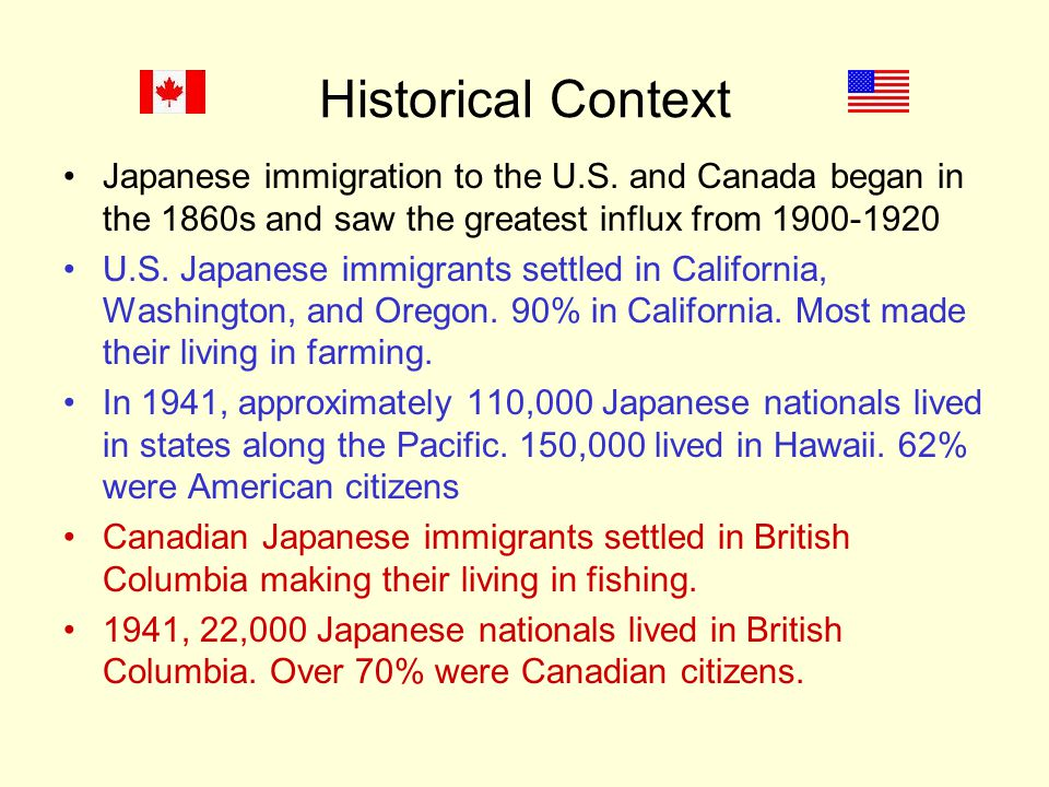 Historical Context Japanese immigration to the U.S.