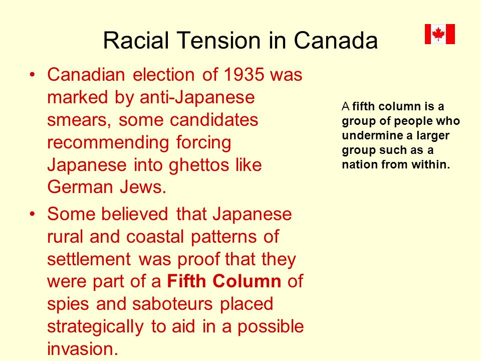 Racial Tension in Canada Canadian election of 1935 was marked by anti-Japanese smears, some candidates recommending forcing Japanese into ghettos like German Jews.