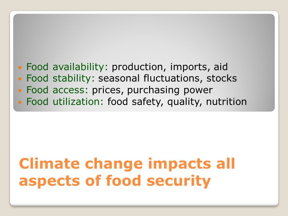 Climate change impacts all aspects of food security Food availability: production, imports, aid Food stability: seasonal fluctuations, stocks Food acc