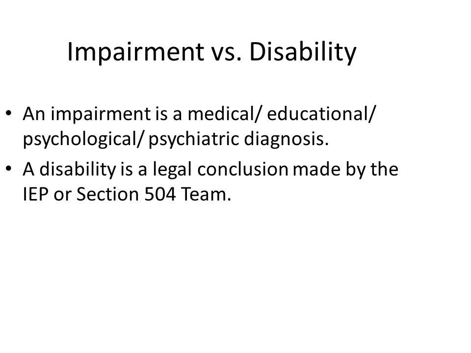Impairment vs.