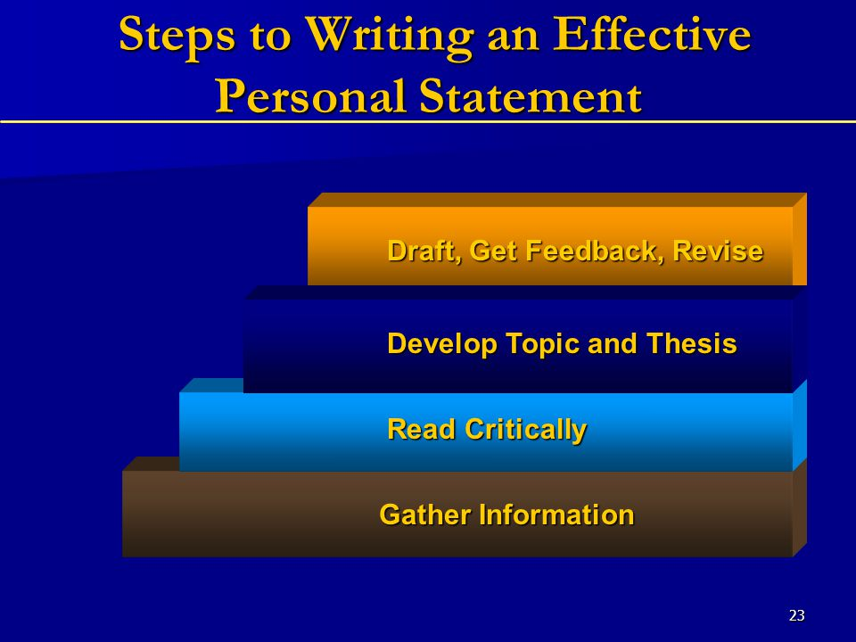 23 Steps to Writing an Effective Personal Statement Steps to Writing an Effective Personal Statement Gather Information Read Critically Develop Topic and Thesis Draft, Get Feedback, Revise