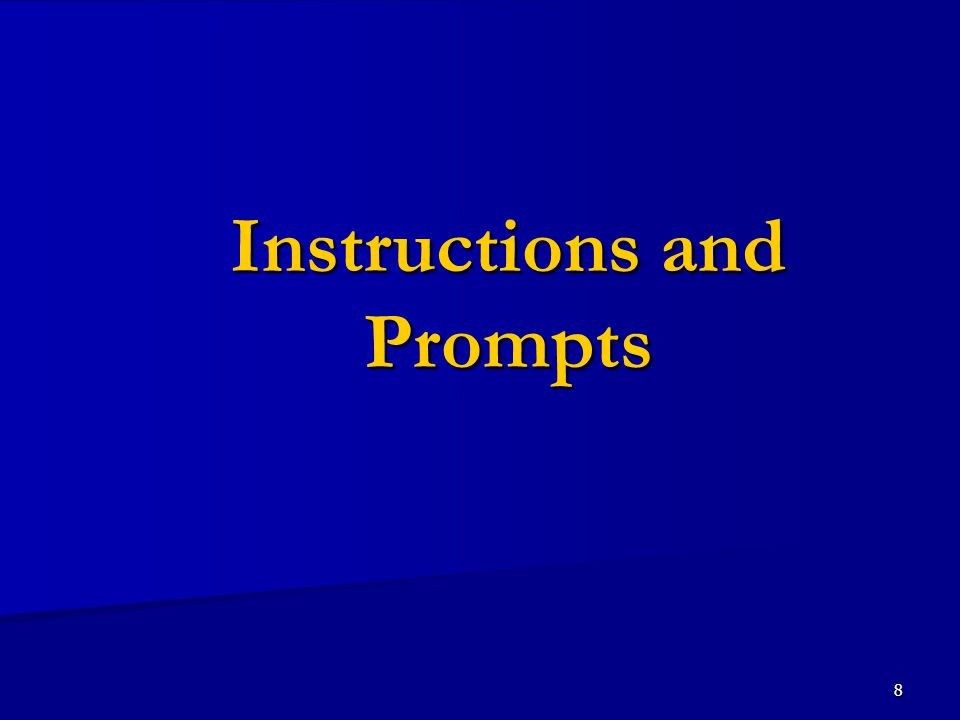 8 Instructions and Prompts