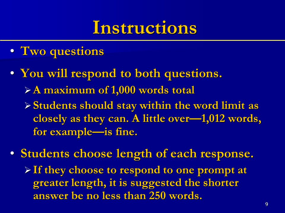 9 Instructions Two questionsTwo questions You will respond to both questions.You will respond to both questions.