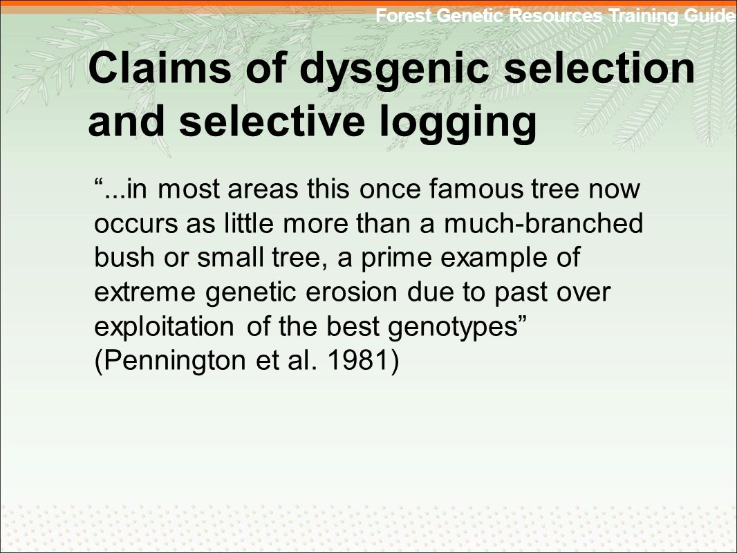 Forest Genetic Resources Training Guide Claims of dysgenic selection and selective logging ...in most areas this once famous tree now occurs as little more than a much-branched bush or small tree, a prime example of extreme genetic erosion due to past over exploitation of the best genotypes (Pennington et al.