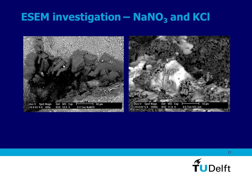13 ESEM investigation – NaNO 3 and KCl