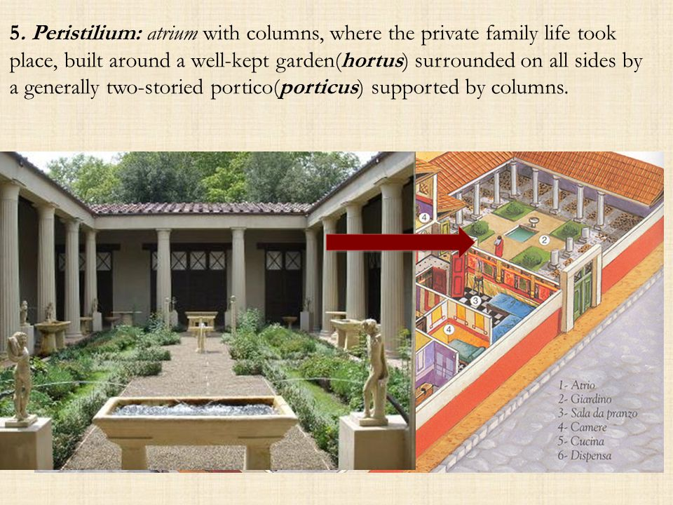 5. Peristilium: atrium with columns, where the private family life took place, built around a well-kept garden(hortus) surrounded on all sides by a ge