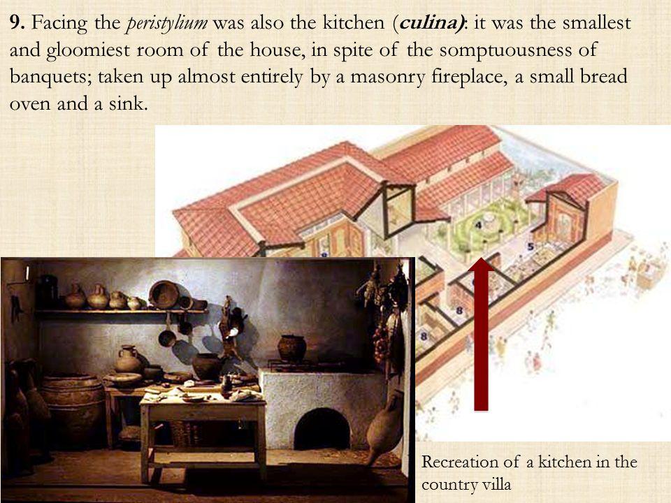 9. Facing the peristylium was also the kitchen (culina): it was the smallest and gloomiest room of the house, in spite of the somptuousness of banquet