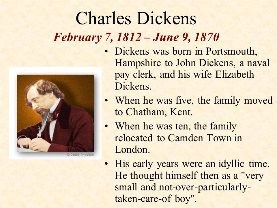 Charles Dickens Dickens was born in Portsmouth, Hampshire to John Dickens, a naval pay clerk, and his wife Elizabeth Dickens.