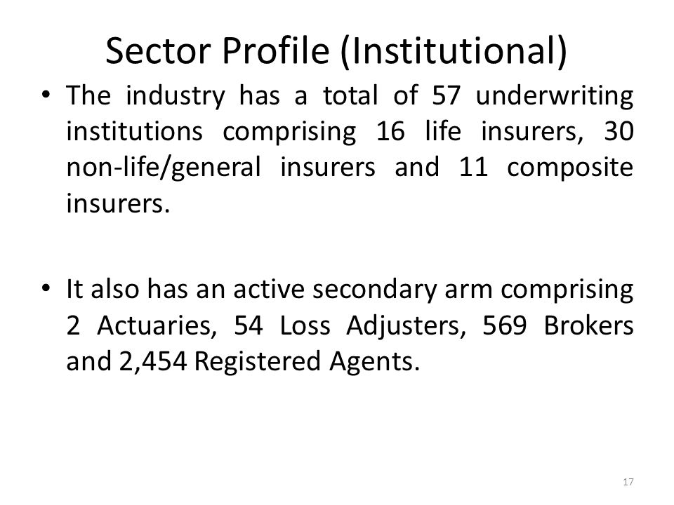 Sector Profile (Institutional) The industry has a total of 57 underwriting institutions comprising 16 life insurers, 30 non-life/general insurers and 11 composite insurers.