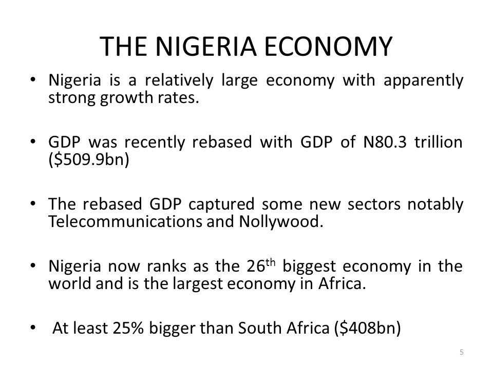 THE NIGERIA ECONOMY Nigeria is a relatively large economy with apparently strong growth rates.