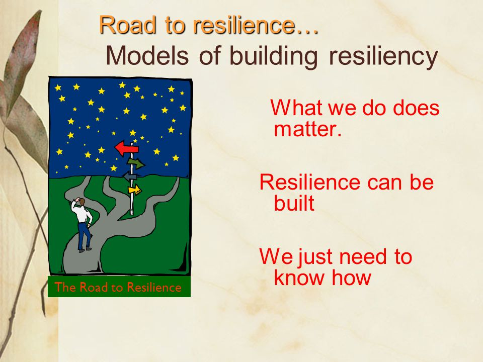Positive Relationships & Bonding Set Clear, Consistent Boundaries Opportunities For Meaningful Participation Teach Life-Skills Set and Communicate High Expectations Provide Care And Support Factors that build resilience Adopted from Resiliency in Schools Making it happen for Students and Educators, Henderson and Milstein 1996