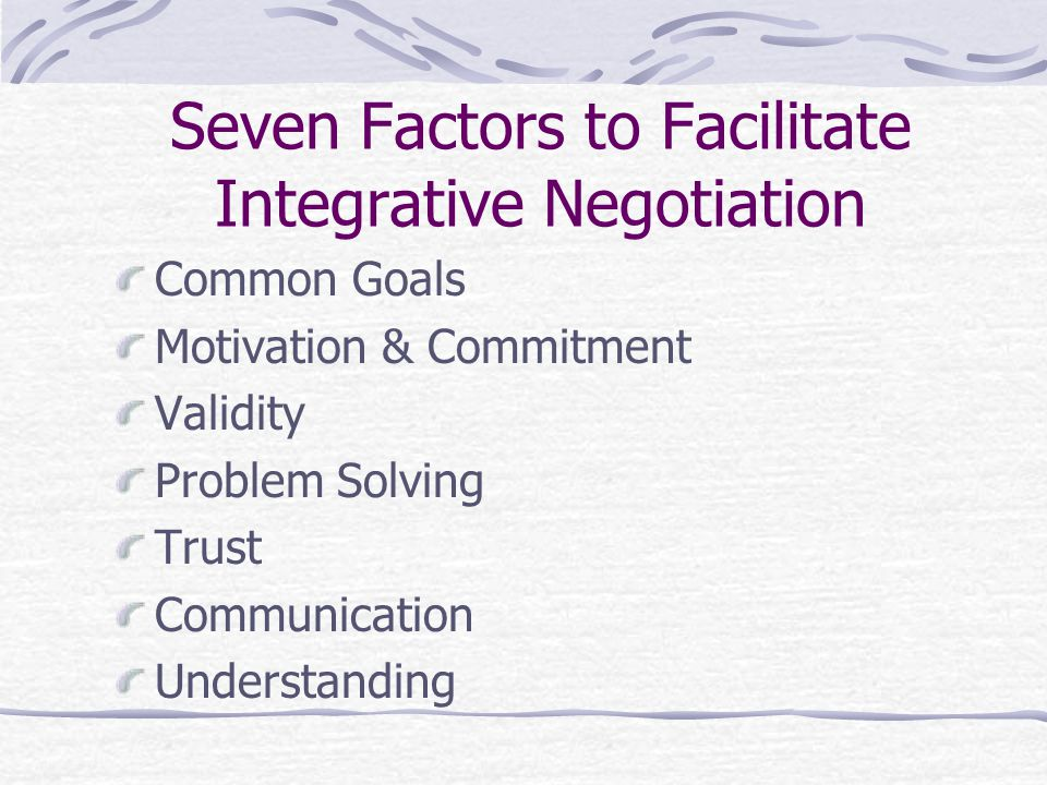 Seven Factors to Facilitate Integrative Negotiation Common Goals Motivation & Commitment Validity Problem Solving Trust Communication Understanding