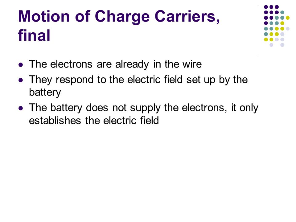 Motion of Charge Carriers, final The electrons are already in the wire They respond to the electric field set up by the battery The battery does not supply the electrons, it only establishes the electric field