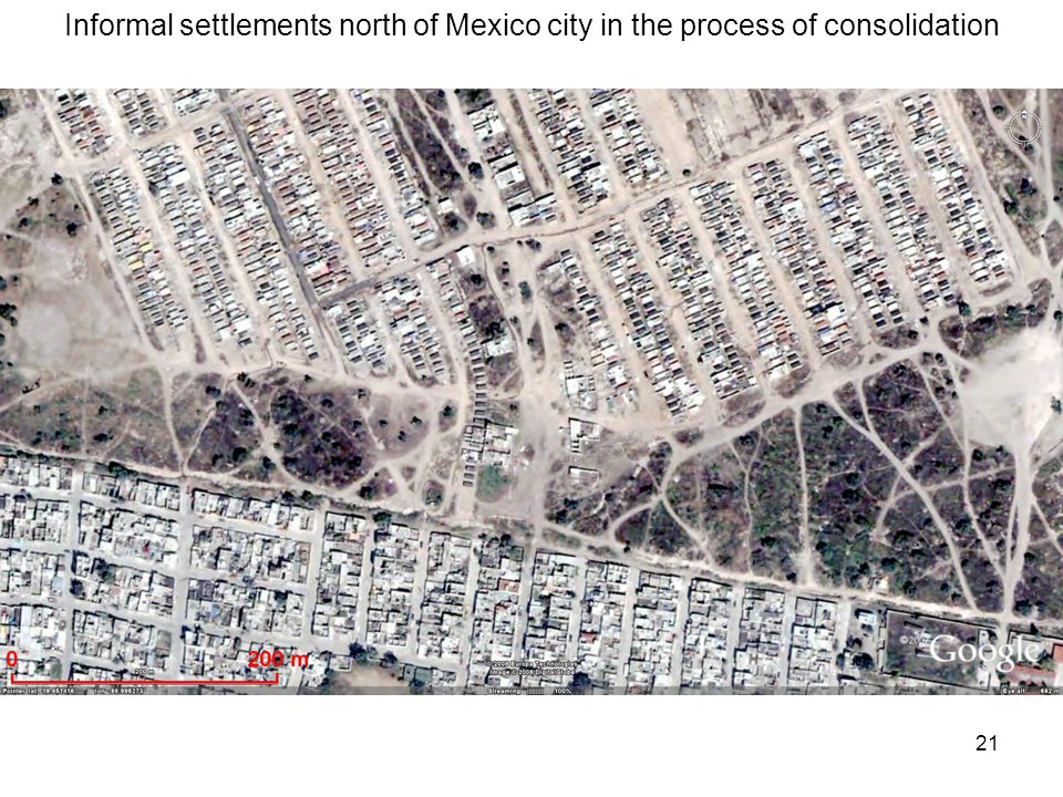 21 Informal settlements north of Mexico city in the process of consolidation