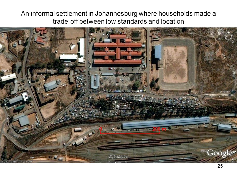 25 An informal settlement in Johannesburg where households made a trade-off between low standards and location