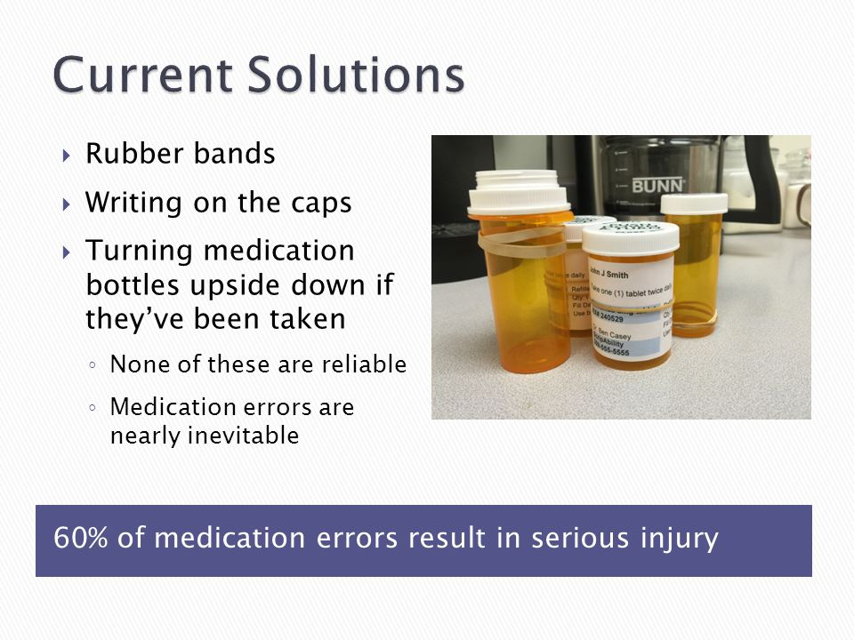 60% of medication errors result in serious injury  Rubber bands  Writing on the caps  Turning medication bottles upside down if they've been taken