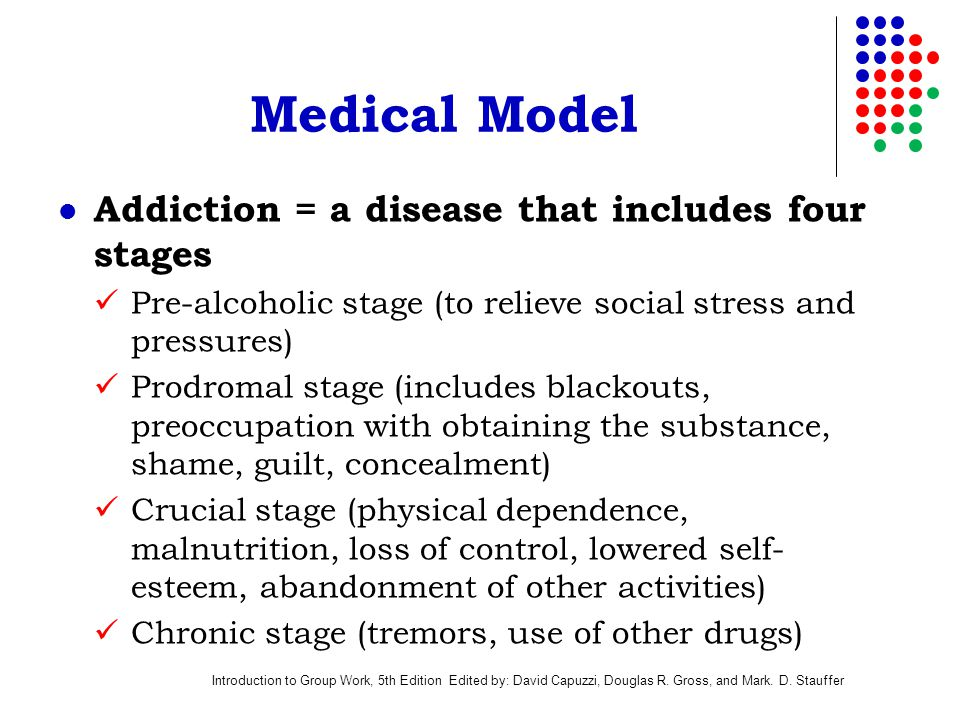Introduction to Group Work, 5th Edition Edited by: David Capuzzi, Douglas R. Gross, and Mark. D. Stauffer Medical Model Addiction = a disease that inc