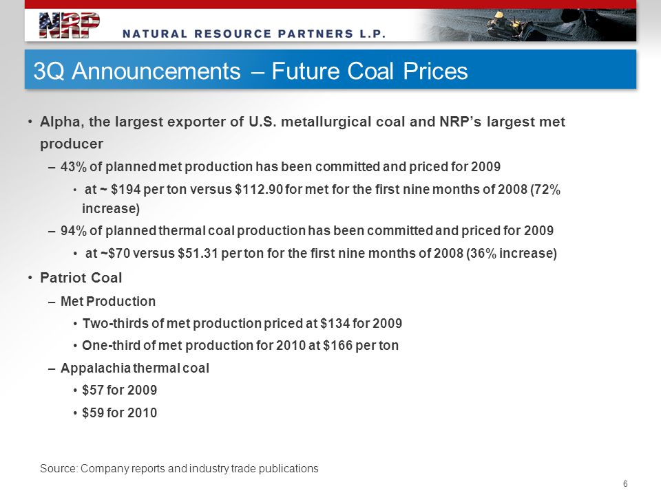 6 3Q Announcements – Future Coal Prices Alpha, the largest exporter of U.S. metallurgical coal and NRP's largest met producer –43% of planned met prod